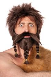 Snor en baard met vlecht ''Viking'' - bruin