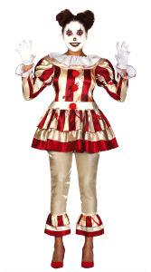 Halloween clown dameskostuum - rood/wit