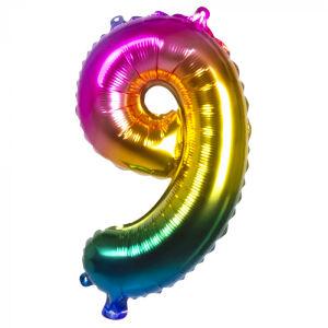 Folieballon rainbow '9' (36 cm)