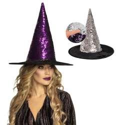 Heksen hoed omkeerbaar paars/zilver)