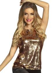 Top Sequins goud valt als S/M
