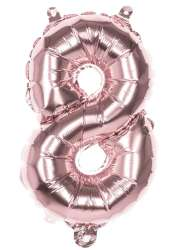 Folieballon '8' Rosegoud (36 cm )