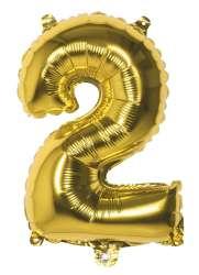 Folieballon '2' goud - 36 cm