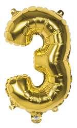 Folieballon '3' goud - 36 cm