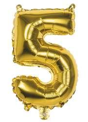 Folieballon '5' goud (36 cm)