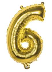 Folieballon '6' goud (36 cm)