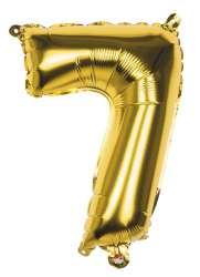 Folieballon '7' goud - 36 cm
