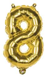 Folieballon '8' goud - 36 cm
