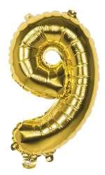 Folieballon '9' goud - 36 cm