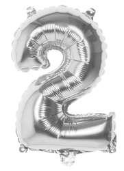 Folieballon '2' zilver - 36 cm