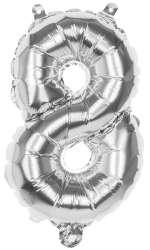 Folieballon '8' zilver - 36 cm