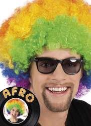 Pruik Afro veelkleurig