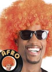 Pruik Afro oranje