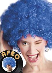Pruik afro blauw