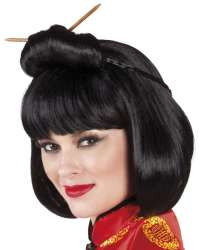 Pruik Chinese courtesan met haarstokjes