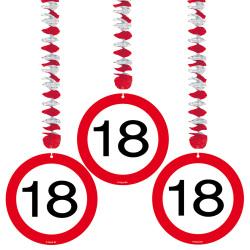 Hangdecoratie verkeersbord 18 jaar - 3 stuks