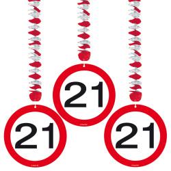 Hangdecoratie verkeersbord 21 jaar - 3 stuks