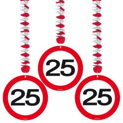 Hangdecoratie verkeersbord 25 jaar - 3 stuks