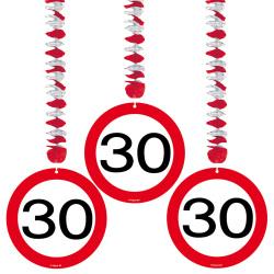 Hangdecoratie verkeersbord 30 jaar - 3 stuks