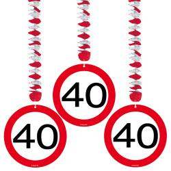 Hangdecoratie verkeersbord 40 jaar - 3 stuks