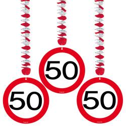 Hangdecoratie verkeersbord 50 jaar - 3 stuks