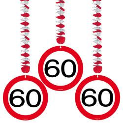 Hangdecoratie verkeersbord 60 jaar - 3 stuks