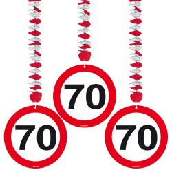 Hangdecoratie verkeersbord 70 jaar - 3 stuks