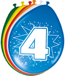 Ballonnen 4 jaar - 8 stuks
