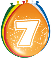 Ballonnen 7 jaar - 8 stuks