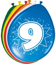 Ballonnen 9 jaar - 8 stuks