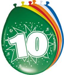 Ballonnen 10 jaar - 8 stuks
