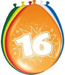 Ballonnen 16 jaar - 8 stuks