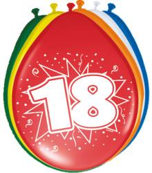 Ballonnen 18 jaar - 8 stuks
