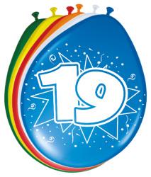 Ballonnen 19 jaar - 8 stuks