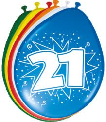 Ballonnen 21 jaar - 8 stuks
