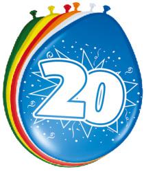 Ballonnen 20 jaar - 8 stuks