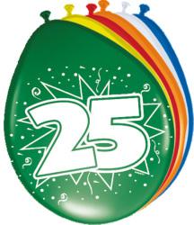 Ballonnen 25 jaar - 8 stuks