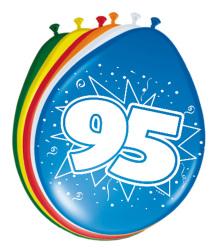 Ballonnen 95 jaar - 8 stuks