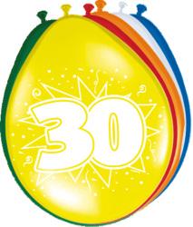 Ballonnen 30 jaar - 8 stuks