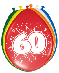 Ballonnen 60 jaar - 8 stuks