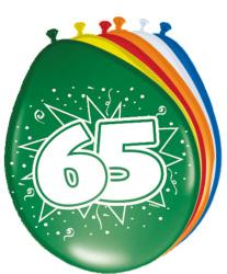 Ballonnen 65 jaar - 8 stuks