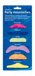 Set van 6 verschillende snorren neon kleuren