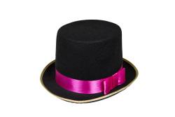Hoge Hoed ''Circus'' met band - zwart/roze