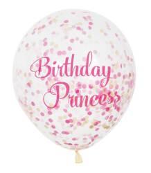Ballonnen ''Birthday Prinses'' met roze confetti - 6 stuks