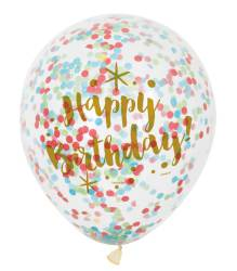 Ballonnen ''Happy Birthday'' met gekleurde confetti - 6 stuks
