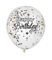 Ballonnen ''Happy Birthday'' met confetti - zwart/goud/zilver - 6 stuks