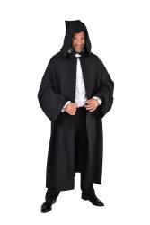 Mantel met capuchon - zwart