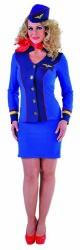 Sexy Stewardess Kostuum voor Dames - blauw