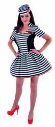 Sexy Boef Kostuum voor Dames Gestreep - zwart/wit