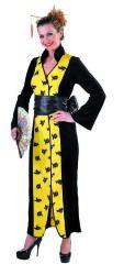 Lange Chinese Jurk voor Dames - zwart/geel